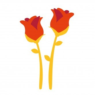 The Shared Memories logo, a dark orange flower on a lighter orange stem
