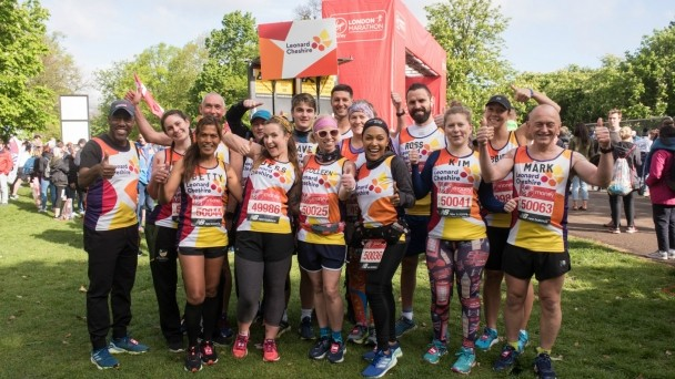 Some of our 2019 London Marathon runners at the start line