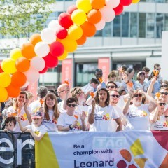 Supporters of Leonard Cheshire cheer on runners at the 2018 London Marathon