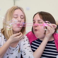 Residents at Marske Hall blow bubbles