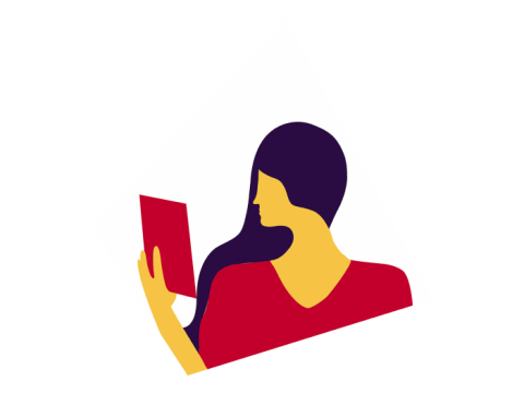 A silhouette of a person holding a book